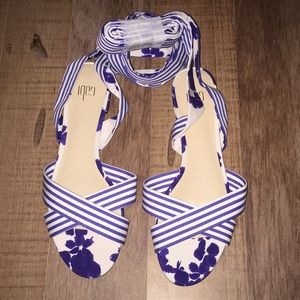 Cabi nautical striped and floral wrap sandals